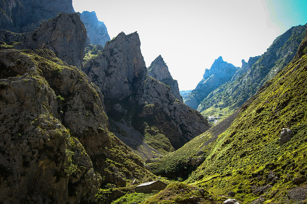 A scenic hiking trail in the Picos de Europa, Spain
