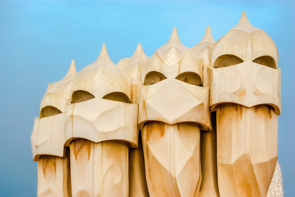 At the top of Casa Mila by Gaudi in Barcelona