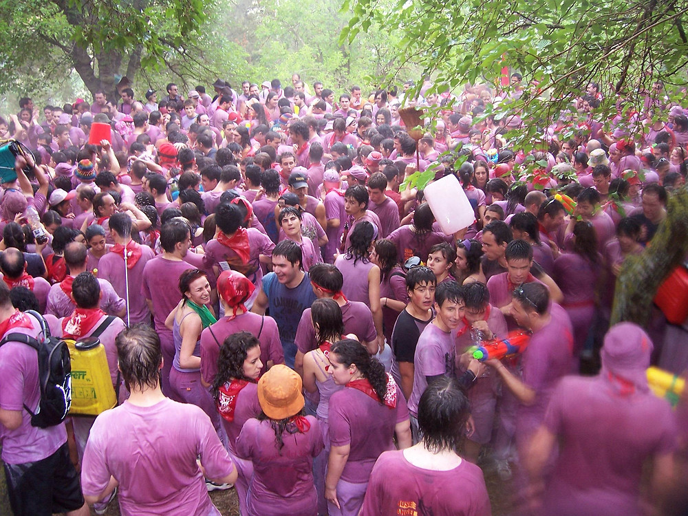 Participants soaked in wine in La Rioja during a Festival in Spain