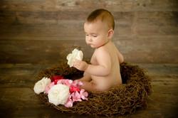 Bébé romantique rose dans son nid
