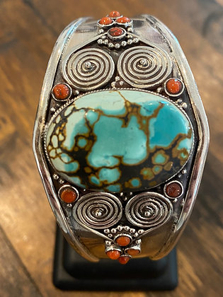 STERLING SILVER TURQUOISE AND CORAL CUFF BRACELET