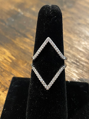 STERLING SILVER NEGATIVE SPACE RING W/ CZ'S