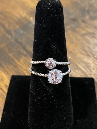 STERLING SILVER LITTLE/BIG CZ RING