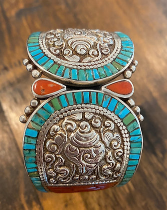STERLING SILVER TIBETAN TURQUOISE HINGED CUFF BRACELET