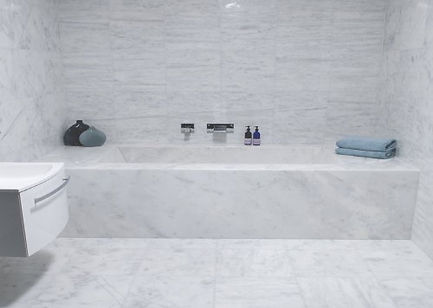 ibiza white bathroom project by w marble