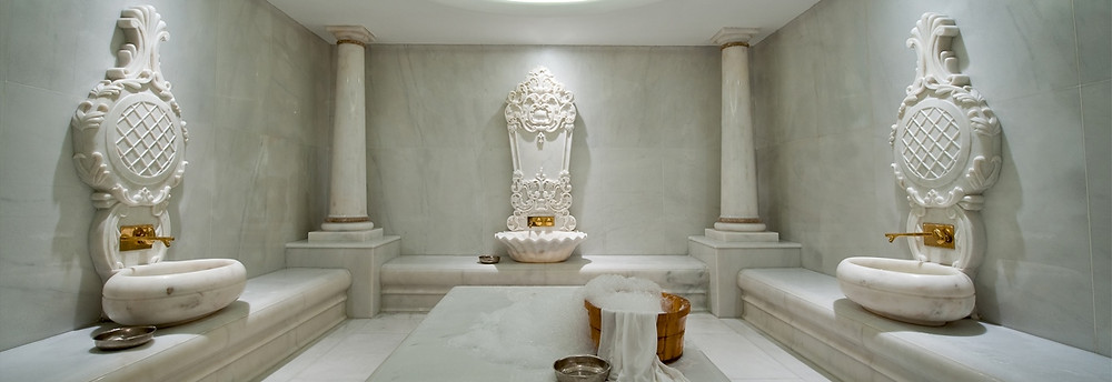Afyon White is one of the most preferred marble for Turkish style baths