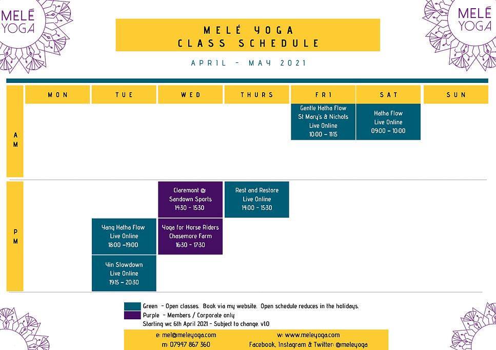 Melé Yoga April - May 2021 Class Schedul