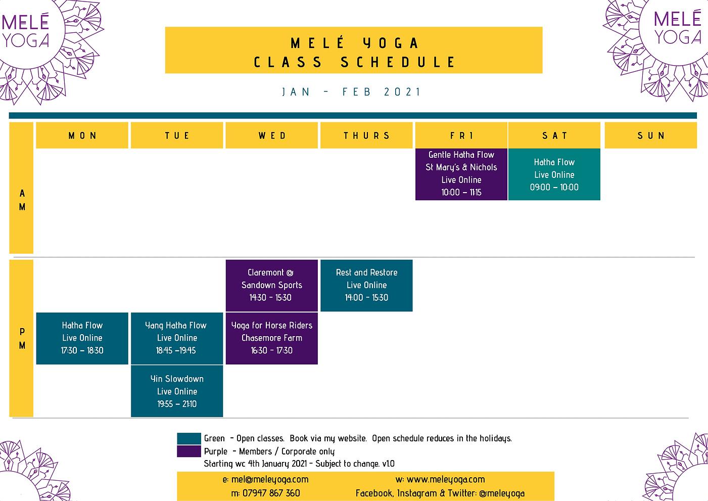 Melé Yoga Jan - Feb 2021 Class Schedule