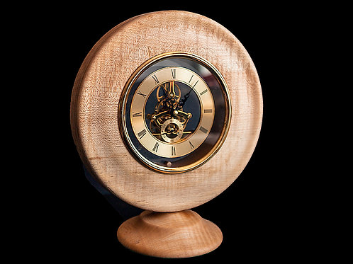 Banded sycamore clock with 150mm skeleton clock