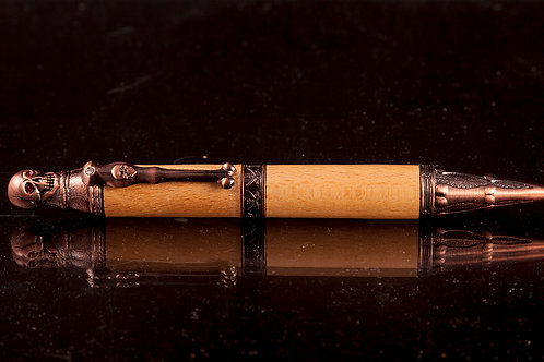 Gothic design ballpoint made from whisky barrel wood