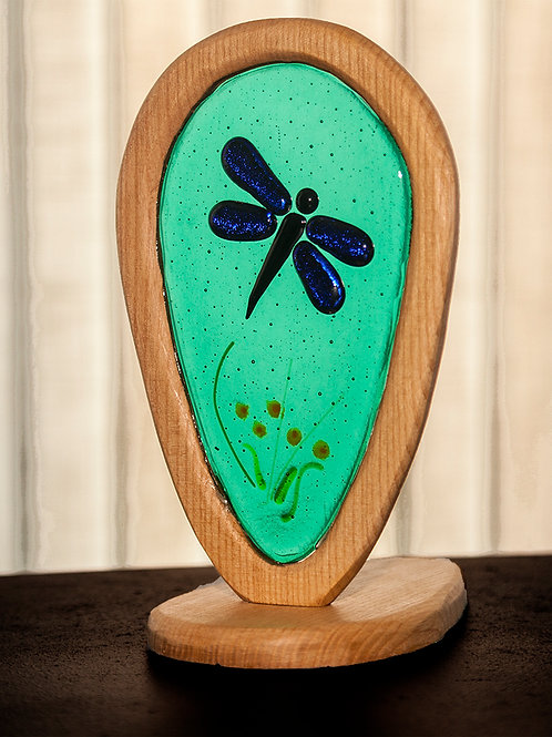 Fused glass in wood