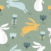 Hasen und Blumen grün