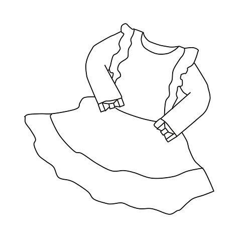 Kleid mit Rüschen und zweifachem Volant