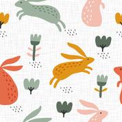 Hasen und Blumen weiß 2