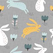 Hasen und Blumen grau