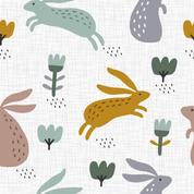 Hasen und Blumen weiß 1