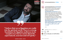 a social media post for a celebrity interview