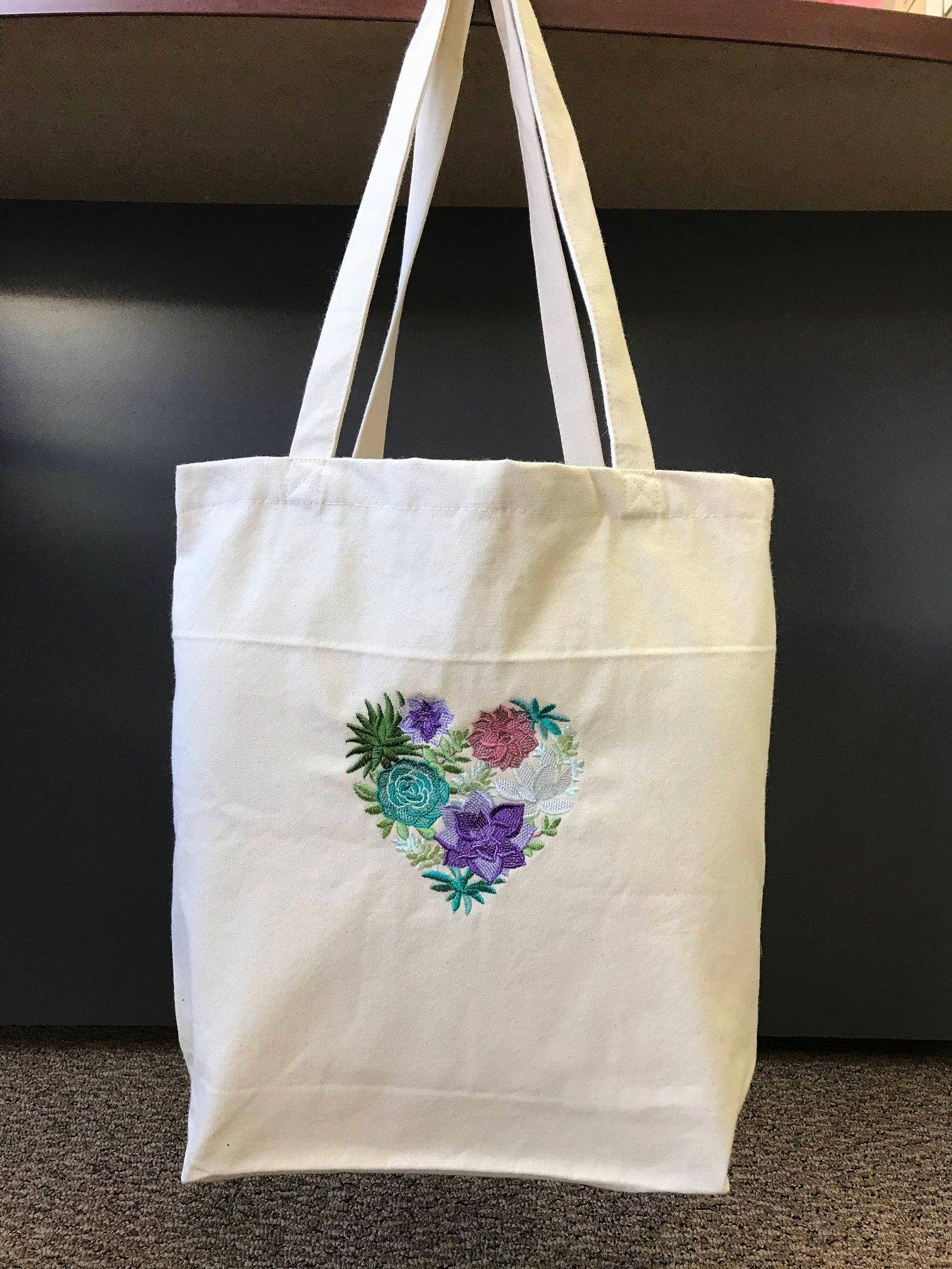 Canvas Tote Bag-Succulents