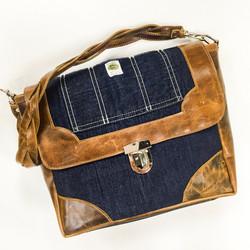 Denim/ Leather Satchel