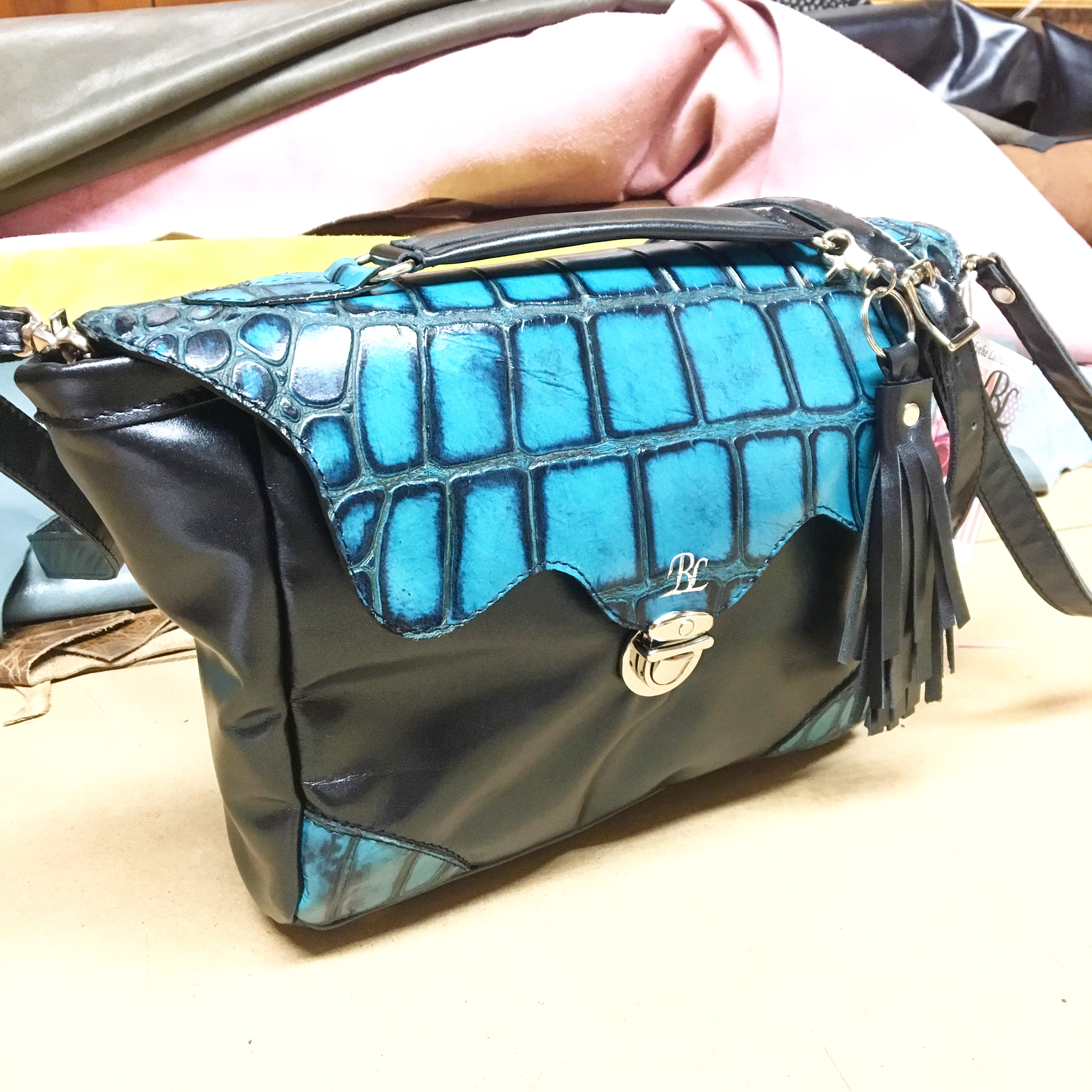 Black/Aqua Croco Portia Bag