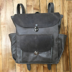 Grey Large Flapped Backpack