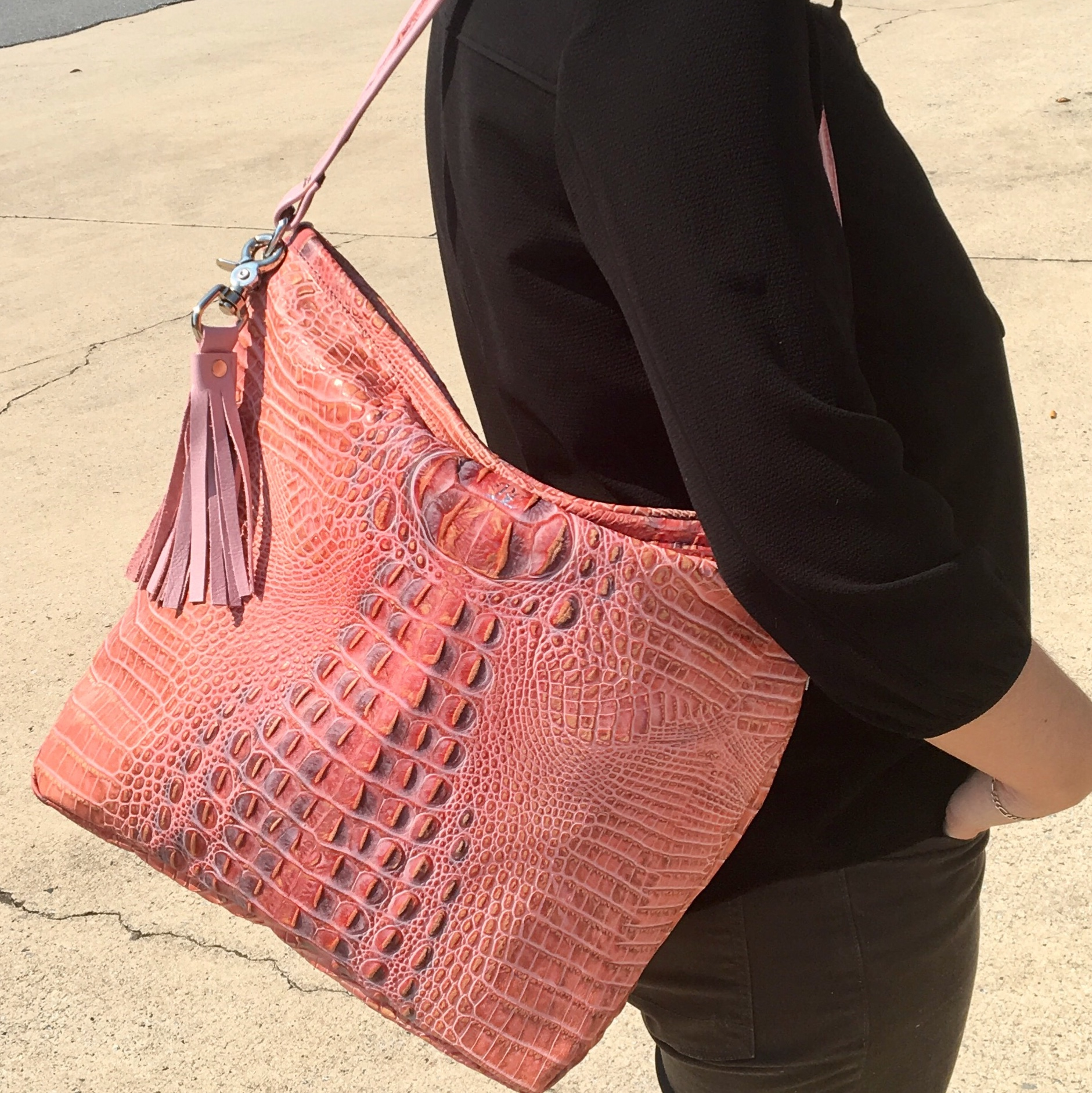Pink Croco Jane Bag