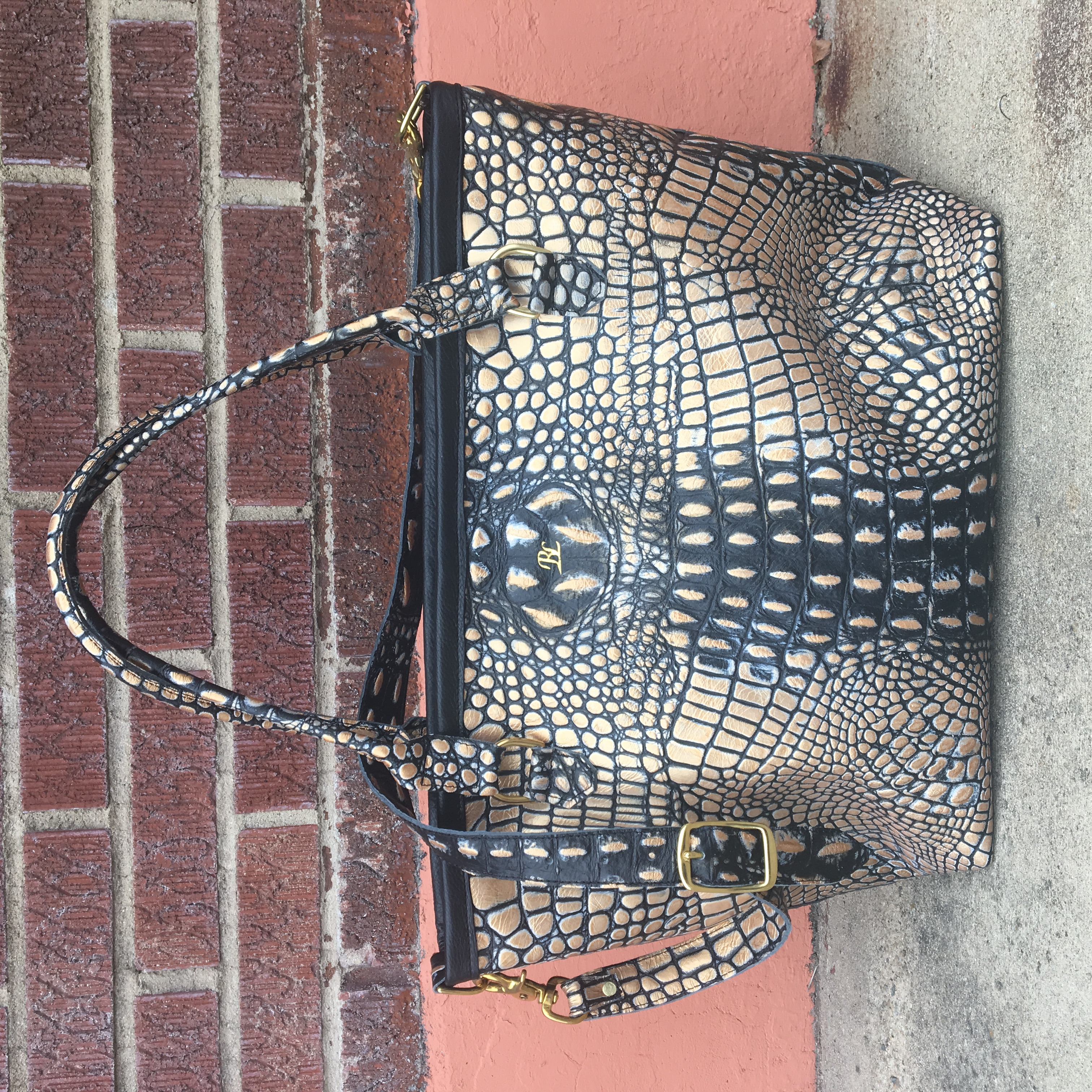 Black/Gold Giant Croco Tote
