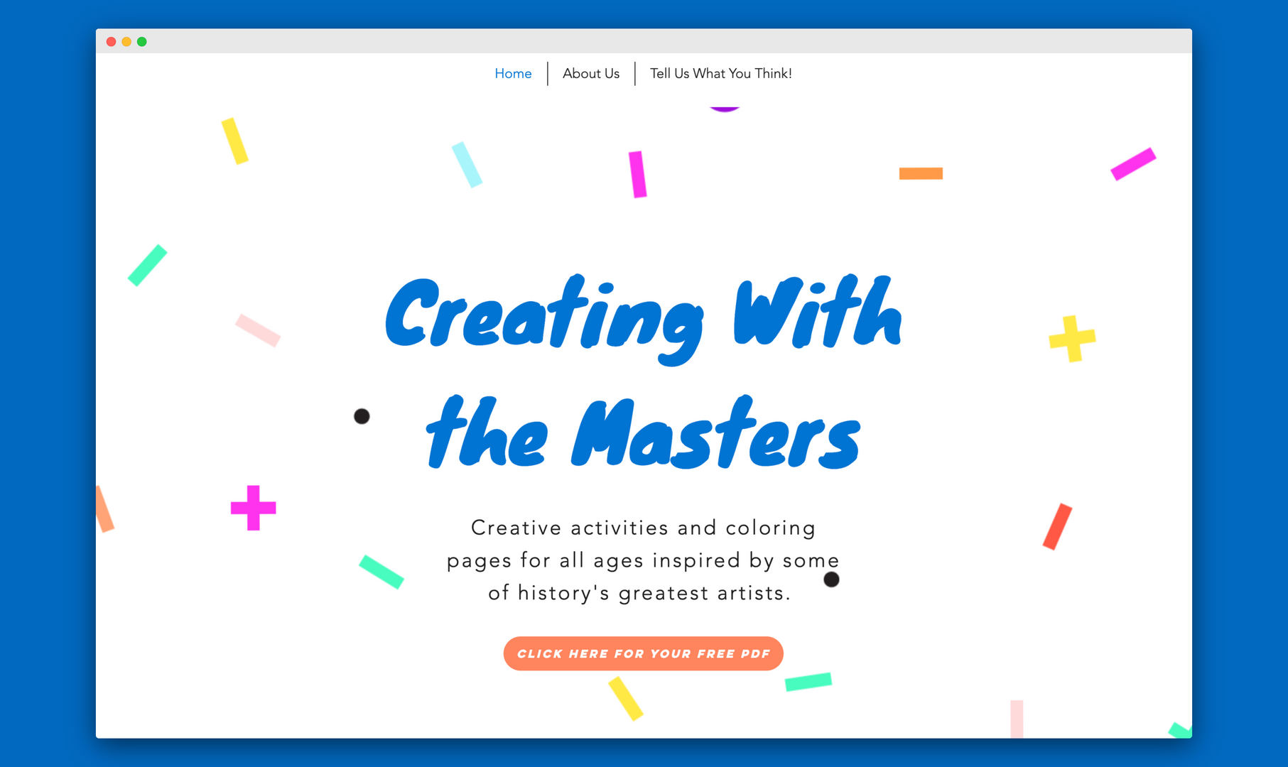 creatingwithmasters.com, where the activity book is available for free download.