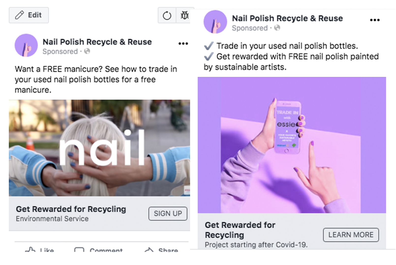 Facebook ads to test how many people are interested in our trade in program.