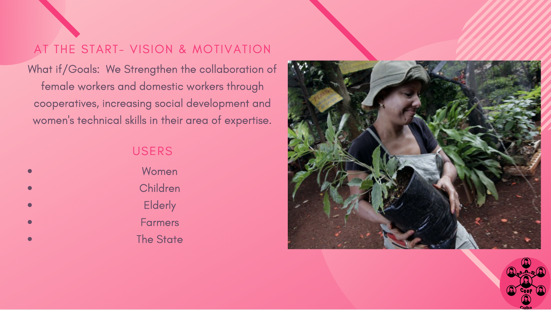 The vision for this Coop is to strengthen female participation in their workforce.