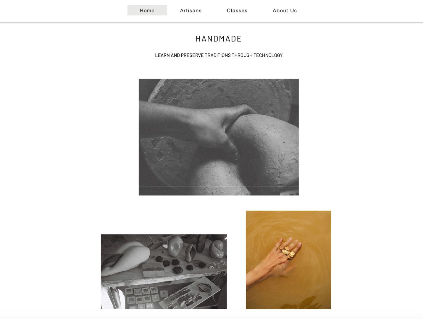 The homepage of handmade, a skill share platform for everyone