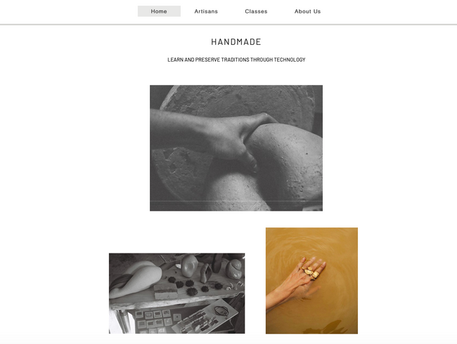 The homepage of handmade, a skill share platform for everyone