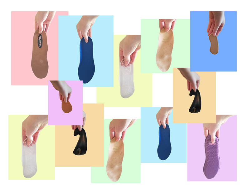 A little shoe insert collage that shows the different varieties of inserts to choose from!