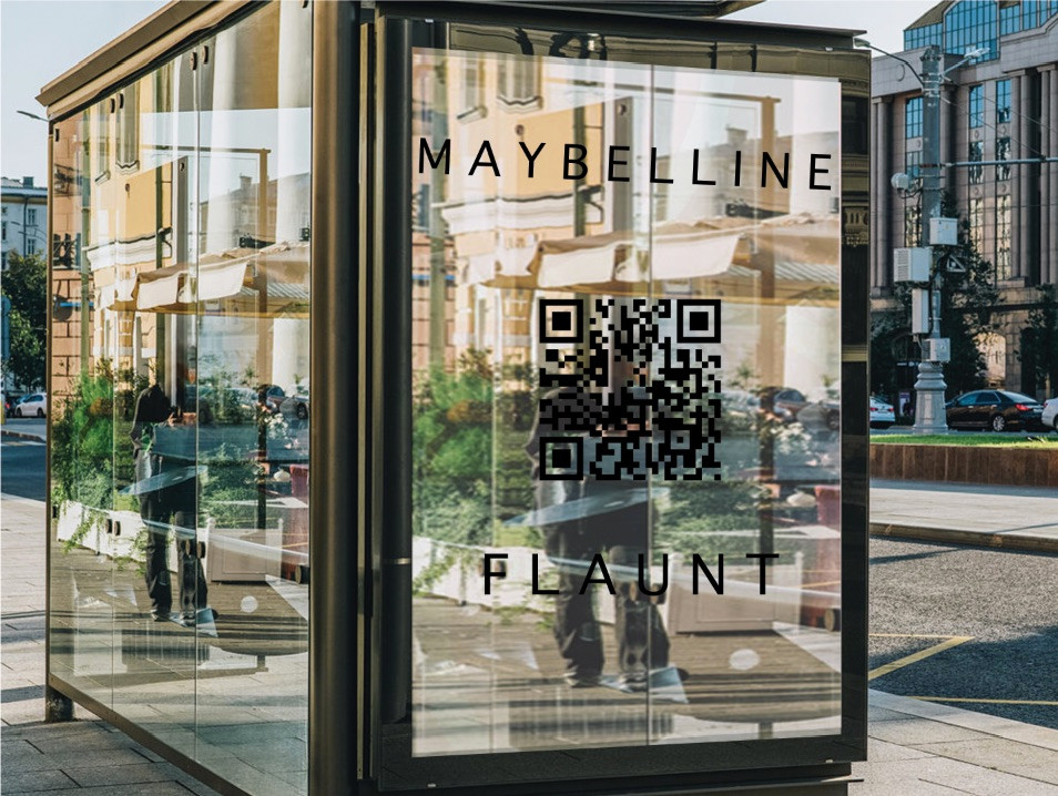 A bus stop displaying transparency featured in our latest advertising campaigns for Maybelline.
