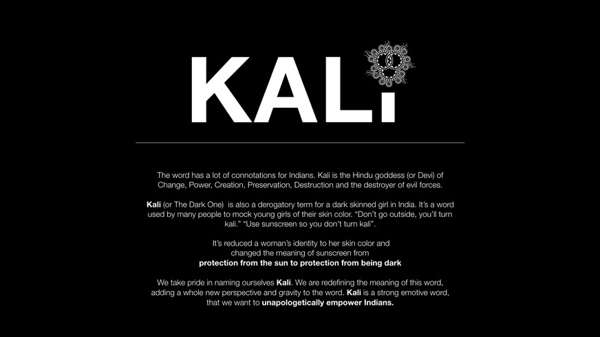 The importance of naming the brand and movement KALI.