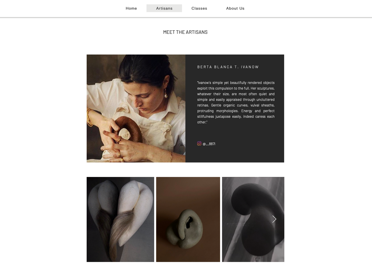 The artisans' tab on our website: discover their unique works and pieces