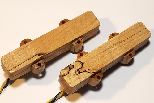 Spalted maple J bass set