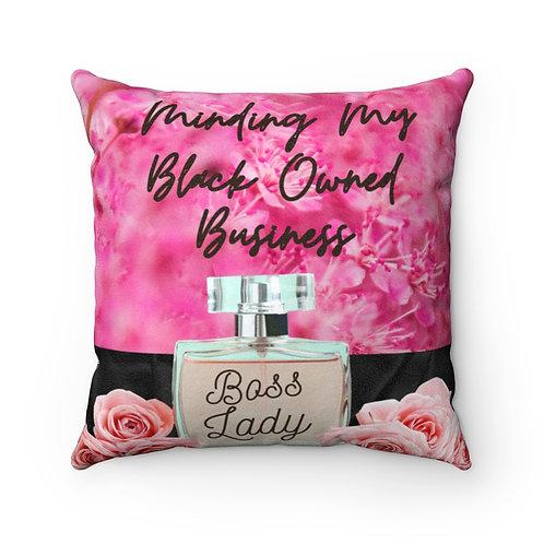 Boss Lady Faux Suede Square Pillow Case