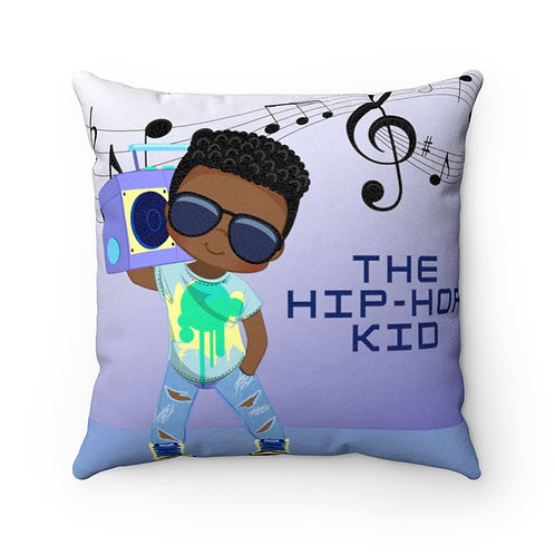 Hip Hop Kid Blue Faux Suede Square Pillow