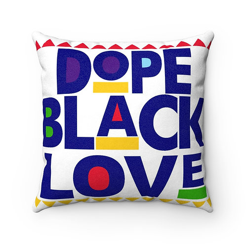 Dope Black Love Faux Suede Square Pillow