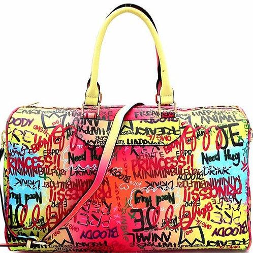 Yellow Multi-color Weekender Bag