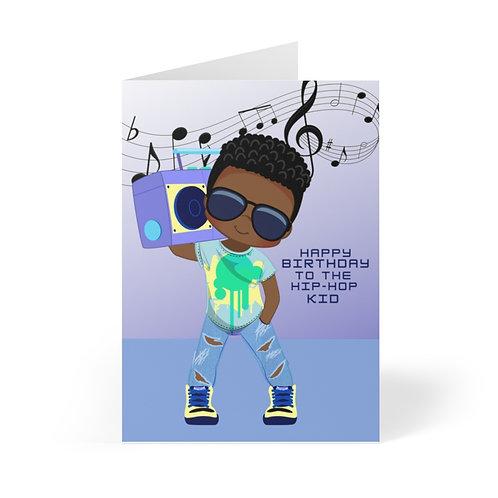 Hip Hop Kid Birthday Greeting Cards (8 pcs)-Blue
