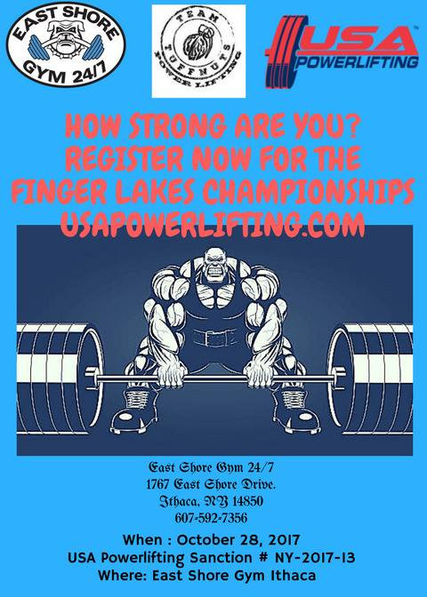 Register: http://northeast-iron-beast-powerlifting.blogspot.com/p/finger-lakes-championships-2017.html