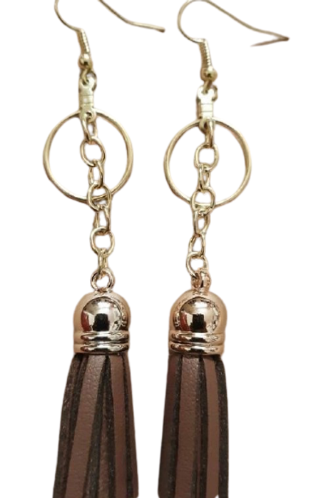 Mahogany Vegan Faux leather Tassel earrings