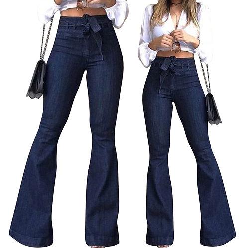 High Waist Denim Bell-Bottom Trousers