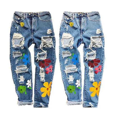 Flower Power High Waist Ripped Jeans