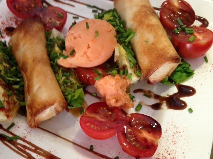 Sorbet tomate et croustillant de chêvre