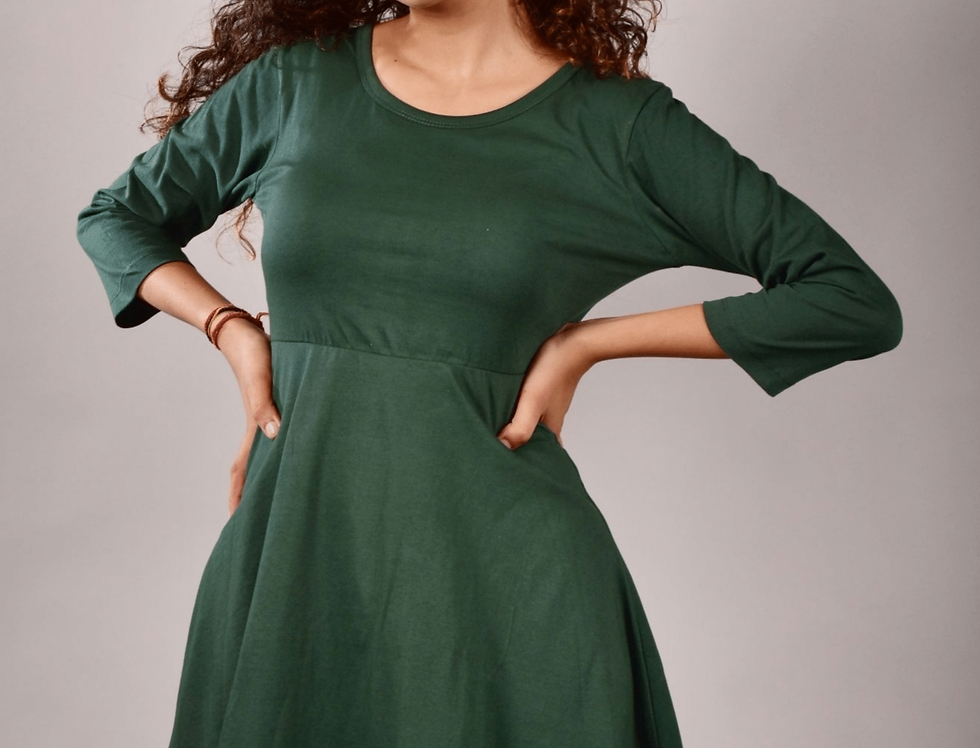 Bottle Green T-Shirt  Dress