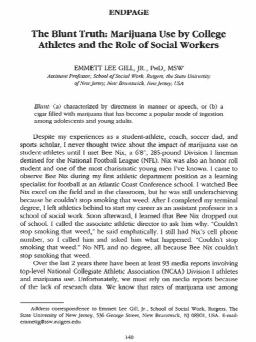 The Blunt Truth: Marijuana Use By College Athletes & The Role of Social Workers