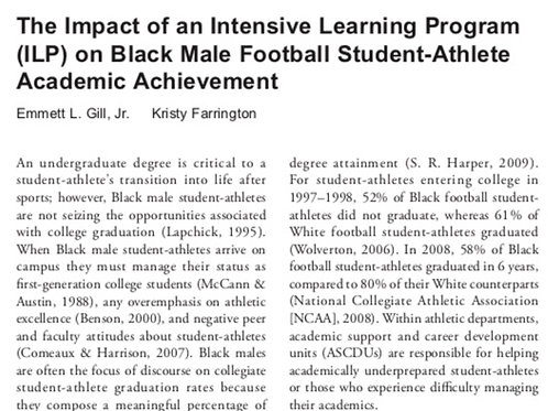 The Impact of an Intensive Learning Program on Black Male Football Student Athle